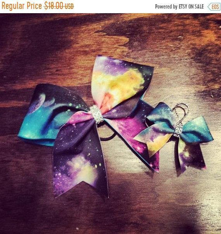 Galaxy Cheer Bow and Key chain