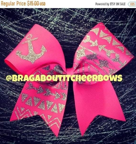 Glitter Anchor and Tribal Print Cheer Bow