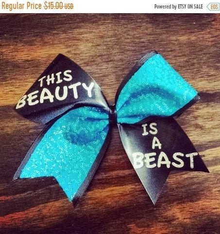 Turquoise This Beauty is a Beast Cheer Bow