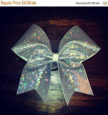 Sparkly White-Silver Cheer Bow