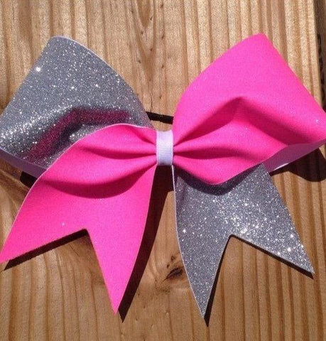 Hazel Cheer Bow in Neon Pink and Silver Glitter