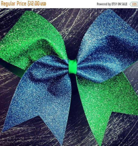 Adel Cheer Bow in Sapphire and Grass Glitter