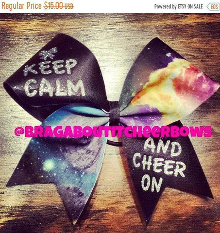 Galaxy Keep Calm and Cheer on Cheer Bow