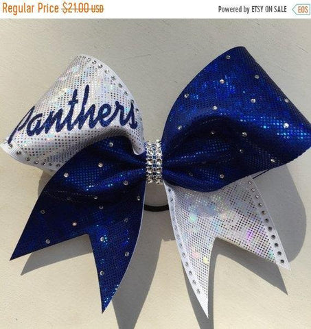 Panthers Cheer Bow in Royal Blue and White Shattered Glass Fabric with Rhinestones