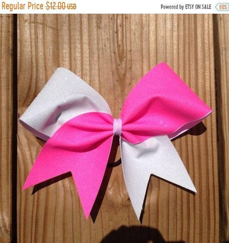 Hazel Cheer Bow in Neon Pink and White Glitter