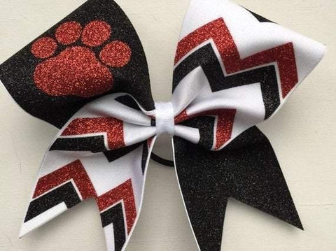 Kailani Cheer Bow in Red, White and Black Glitter with a Mascot