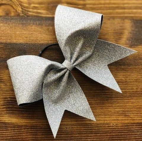 Adel Cheer Bow in Silver Glitter / Silver Glitter Bow / Glitter Cheer Bow / Glitter Bow