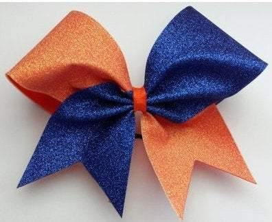 Hazel Cheer Bow Holo Orange and Royal Blue Glitter