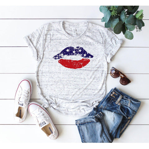 American Flag Lips Distressed T-Shirt