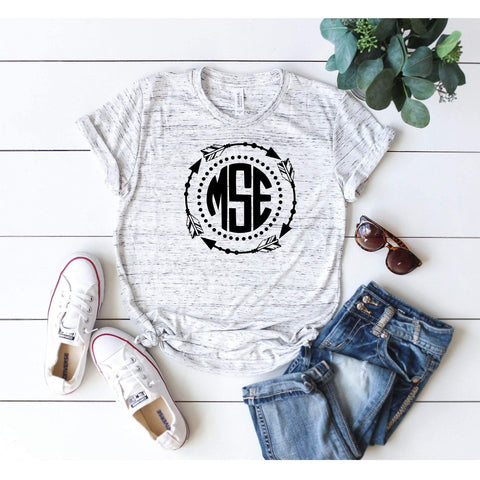 Custom Circle Monogram Arrow Frame T-shirt