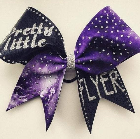 Pretty Little Flyer Purple Galaxy Glitter and Rhinestones Cheer Bow