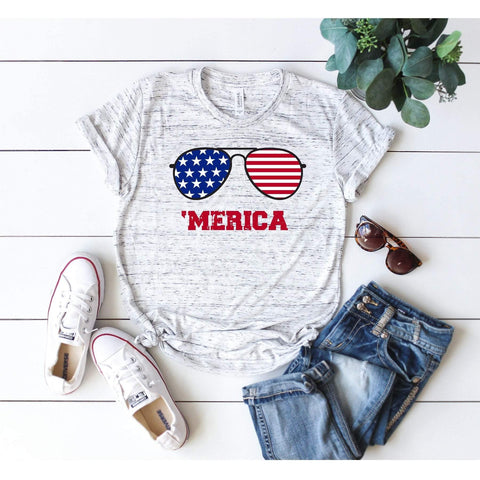 Merica Sunglasses Distressed T-Shirt