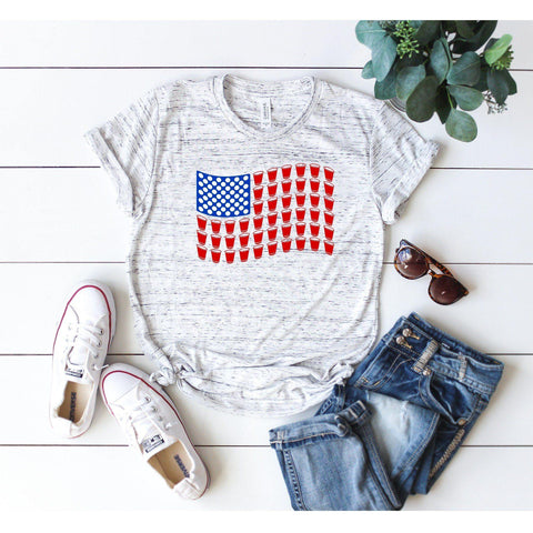 Beer Pong USA Flag Wave T-shirt