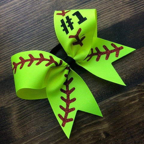 Softball Bow with Number or Name/Custom Softball Bows