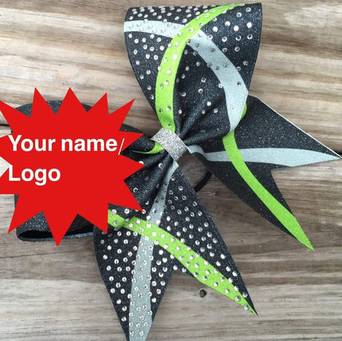 Layla Cheer Bow. Choose 3 colors. Your Name or Logo, Made with Glitter Cheer Bow