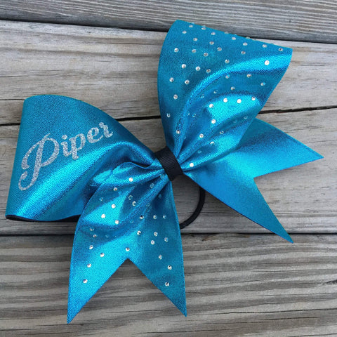 Aras Rhinestone Cheer Bow with Your Name