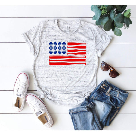 Baseball Usa Flag T-shirt