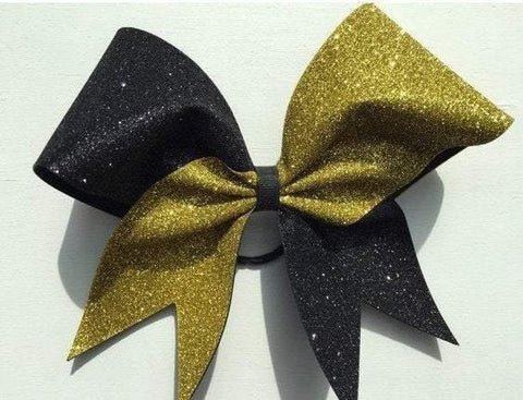 Hazel Cheer Bow in Black and Gold Glitter