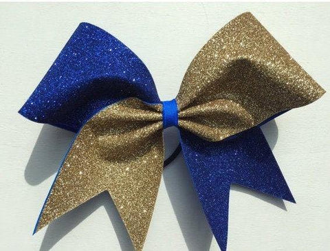 Hazel Cheer Bow in Old Gold and Royal Blue Glitter