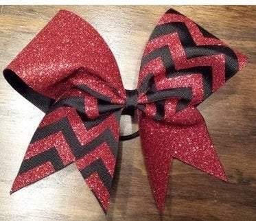 Charlotte Cheer Bow in Red Glitter and Black Ribbon Chevron