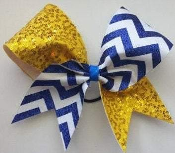 Sequin Cheer Bow in Yellow Fabric, Royal Blue Glitter and White Ribbon Chevron
