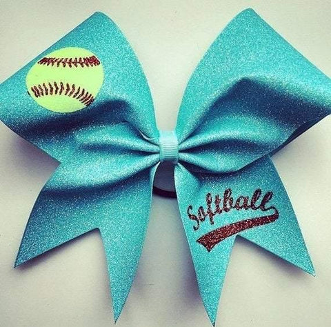 Glitter Softball Bow