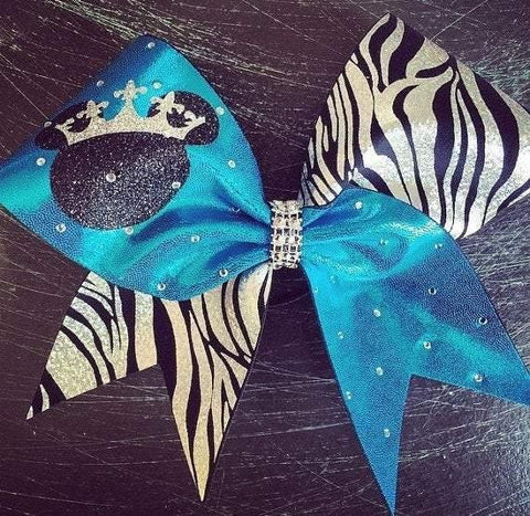 Zebra Cheer Bow with Rhinestones and Glitter