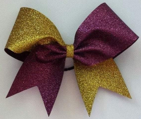 Hazel Cheer Bow in Gold and Burgundy Glitter