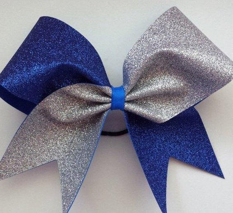 Adel Cheer Bow in Royal Blue and Silver Glitter