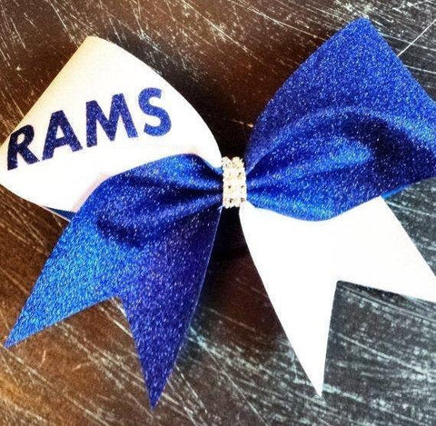 Hanna Cheer Bow in White and Royal Blue Glitter