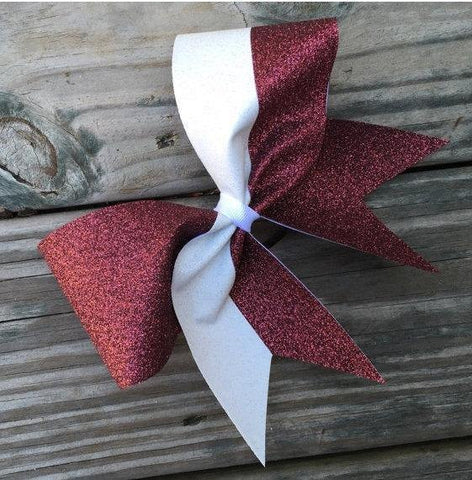 Caden Glitter Bow in Maroon and White