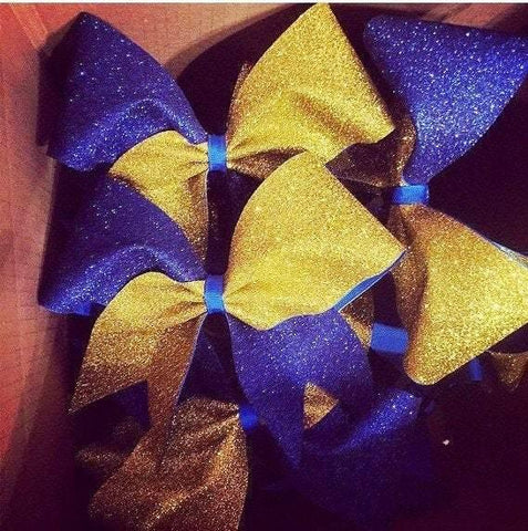 Adel Cheer Bow in Royal Blue and Gold Glitter