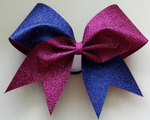 Adel Cheer Bow in Royal Blue and Pink Glitter