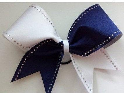 Heather Cheer Bow in Navy and White