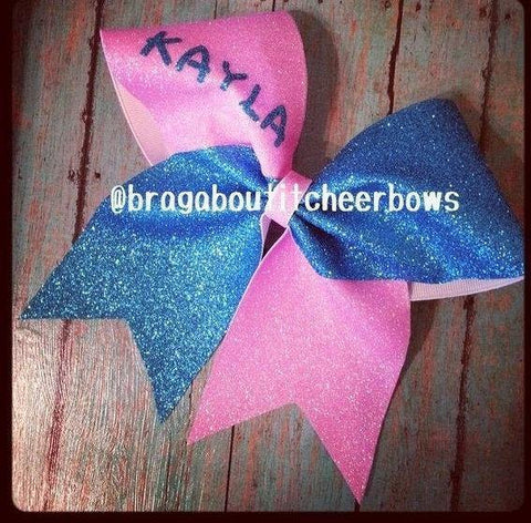 Glitter Cheer Bow With Your Name