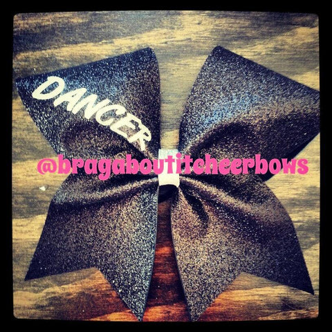 Dancer Black Glitter Cheer Bow