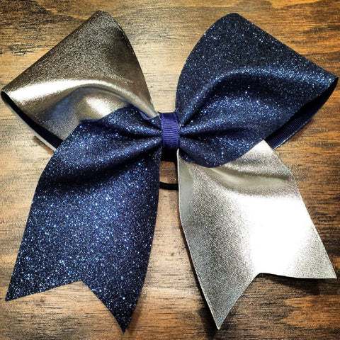 Navy Glitter and Silver Cheer Bow
