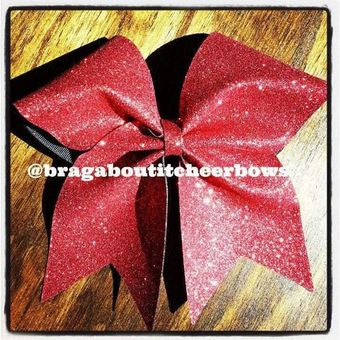 Adel Cheer Bow in Red Glitter