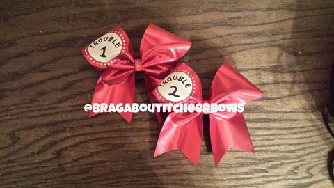 Trouble 1 Trouble 2 Cheer Bows with Rhinestones