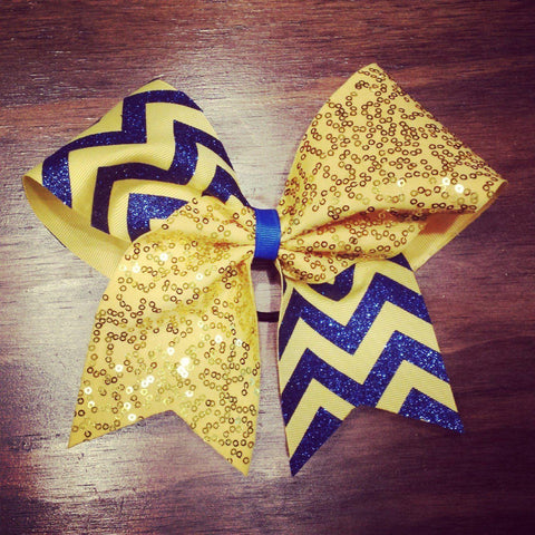 Sequin Cheer bow in Yellow Fabric, Royal Blue Glitter and Yellow Ribbon Chevron