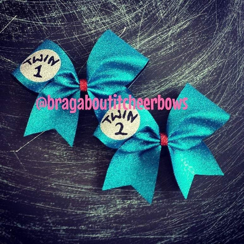 Turquoise Glitter Twin 1 Twin 2 Cheer Bows