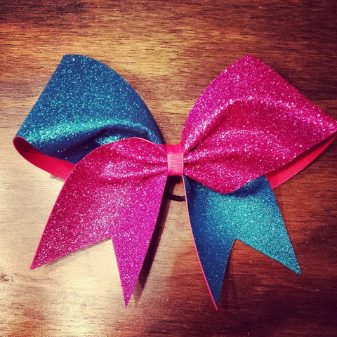 Hazel Cheer Bow in Aqua and Pink Glitter