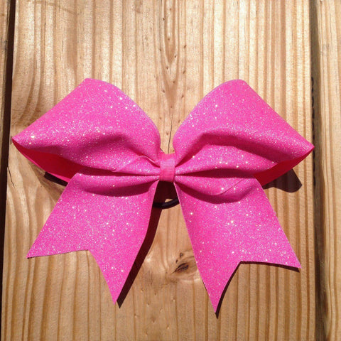 Adel Cheer Bow in Holo Pink Glitter