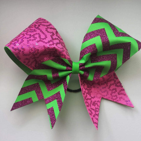 Sequin Cheer bow in Pink and Neon Green Chevron
