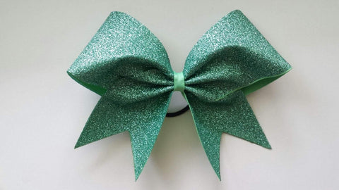 Adel Cheer Bow in Mint Glitter