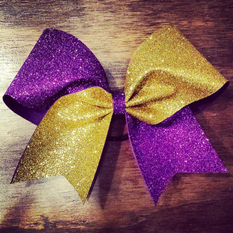 Hazel Cheer Bow in Gold and Purple Glitter
