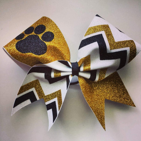 Kailani Cheer Bow in Gold, White and Black with a Mascot