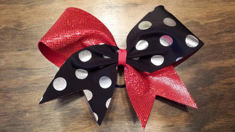Red Polka Dot Cheer Bow