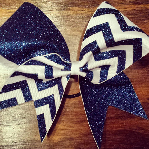 Charlotte Cheer Bow in Sapphire Glitter and White Ribbon Chevron