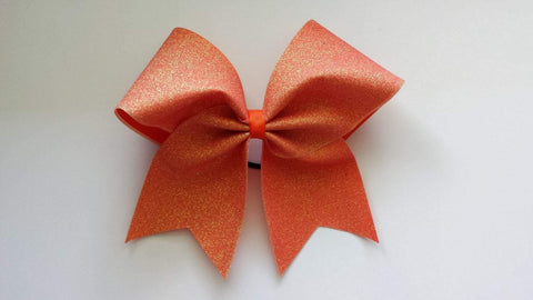Adel Cheer Bow in Holo Orange  Glitter